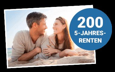 Glückliches Paar am Strand mit Störer 200 5-Jahres-Renten 380x240