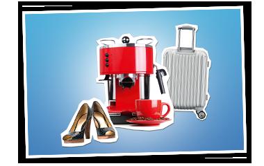 Schuhe, Kaffeemaschine, Rollkoffer