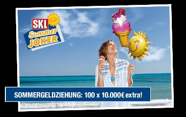 Zusätzlich 100 x 10.000 € Sommergeld in den Monaten Juni - August